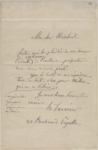 Honore Daumier autograph letter to Heinbeil, undated