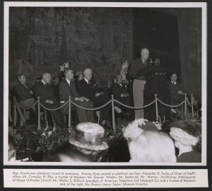 Gen. Dwight Eisenhower addressing the gathering