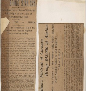 Press clippings from Milliken sale